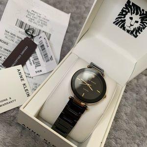 Black & Gold-Tone Diamond Dial Ceramic Watch
